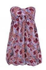 r�owa sukienka Troll w kwiaty odkryte ramiona - letnia kolekcja