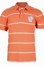 pomara�czowa koszulka Top Secret w paski polo - sezon wiosenno-letni
