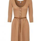 br�zowa sukienka Stradivarius w groszki - trendy wiosna-lato