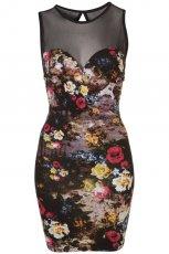 czarna sukienka Topshop w kwiaty - sezon wiosenno-letni