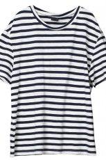 bia�y t-shirt H&M w paski - wiosna/lato 2011