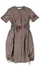 br�zowa sukienka Hexeline z paskiem - lato 2011