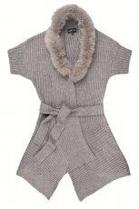 szary sweter Aryton z futerkiem - trendy na jesie�-zim�