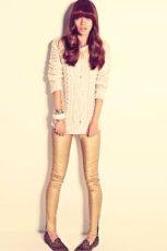ecru sukienka Pull and Bear - jesie� 2011
