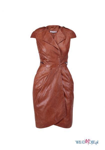 br�zowa sukienka Monnari sk�rzana - jesie�/zima 2011/2012