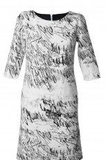 bia�a sukienka Simple we wzorki - kolekcja jesienno-zimowa