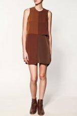 br�zowa sukienka ZARA - kolekcja jesienno-zimowa