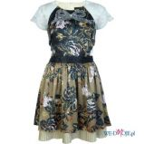 ecru sukienka River Island w kwiaty - jesie�/zima 2011/2012