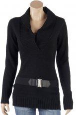 czarny sweter Camaieu z pasem - jesie�/zima 2011/2012