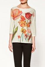 ecru bluzka ZARA w kwiaty - moda jesienna