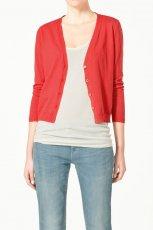 czerwony sweter ZARA rozpinany - jesie�/zima 2011/2012