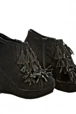 czarne botki z fr�dzlami - jesie�/zima
