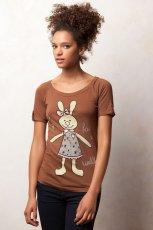 br�zowy t-shirt Pull and Bear z nadrukiem - jesie�/zima 2011/2012