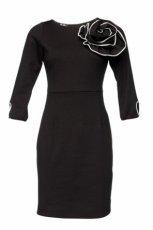 czarny sukienka DanHen z kwiatem - jesie�/zima 2011/2012