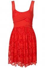 czerwona sukienka wieczorowa Topshop z koronk�