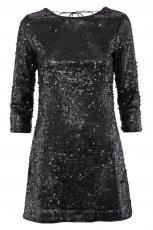 czarna sukienka wieczorowa H&M z cekinami - jesie�/zima 2011/2012