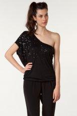 czarna bluzka Bershka z cekinami asymetryczna - zima 2011/2012