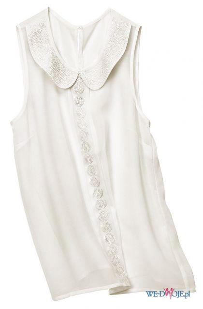 bia�a bluzka H&M z ko�nierzem bez r�kaw�w - wiosna/lato 2012
