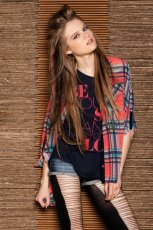 czerwona koszula Bershka w kratk� - moda 2012