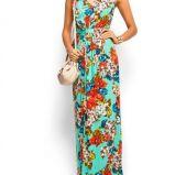 turkusowa sukienka Mango w kwiaty d�uga - z kolekcji wiosna-lato 2012