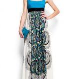 niebieska suknia Mango we wzory na rami�czkach - sezon letni