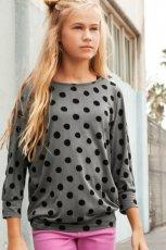 szara bluzka H&M w kropki - trendy wiosna-lato