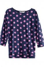 granatowa bluzka H&M w kropki - lato 2012