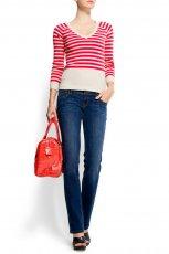 czerwony sweter Mango w paski - moda wiosna/lato
