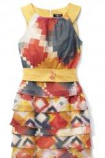 kolorowa sukienka Midori z falbanami - sezon wiosenno-letni