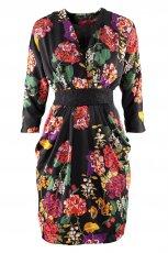 kolorowa sukienka wieczorowa H&M w ��czk� klepsydra - zima 2012
