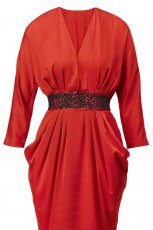 czerwona sukienka H&M z pasem z d�ugim r�kawem - wiosna/lato 2012