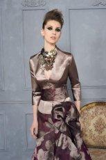 br�zowa sukienka wieczorowa Higar w kwiaty - trendy 2012