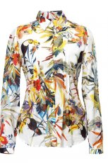 bia�a bluzka Van Graaf we wzory - trendy wiosenne