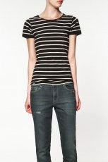 czarny t-shirt ZARA w paski - z kolekcji wiosna-lato 2012
