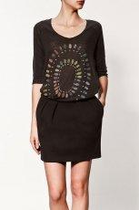 br�zowa bluzka ZARA we wzory - z kolekcji wiosna-lato 2012