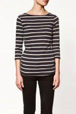 czarna bluzka ZARA w paski z r�kawem 3/4 - z kolekcji wiosna-lato 2012