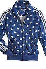 niebieska bluza Adidas w gwiazdki rozpinana - sezon wiosenny