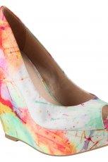 kolorowe pantofle Aldo w kwiaty na koturnie - wiosna/lato 2012