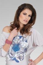 szara sukienka z kwiatem - wiosna 2012