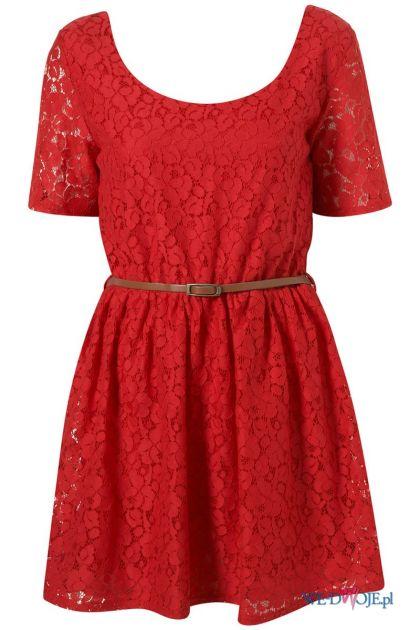czerwona sukienka Topshop koronkowa - wiosna/lato 2012