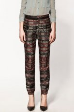 spodnie ZARA w asymetryczne wzory alladynki - z kolekcji wiosna-lato 2012