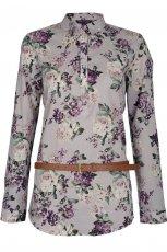 wrzosowa koszula Claudia & Top Secret w kwiaty - wiosna/lato 2012