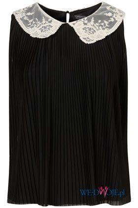 czarna bluzka Topshop z ko�nierzem plisowana - wiosna/lato 2012