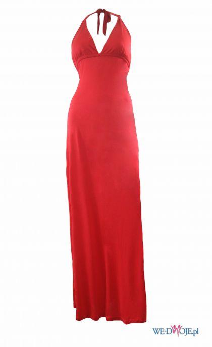 czerwona sukienka wieczorowa Averly London wi�zana na szyi - wiosna/lato 2012