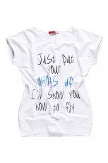 bia�y t-shirt Moodo z napisami - wiosna/lato 2012