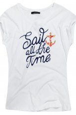 bia�y t-shirt Reserved z napisami - sezon letni
