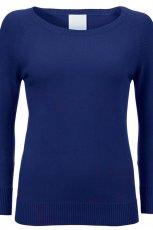 niebieski sweter InWear z dekoltem w ��dk� - jesie�-zima 2012/2013