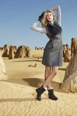 popielata sukienka Emu Australia z futerkiem - jesie�/zima 2012/2013