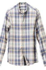 popielata bluzka H&M w kratk� z ko�nierzem - lato 2012