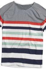 szary t-shirt H&M w paski - lato 2012